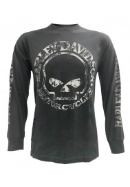 Harley Davidson Homme Willie G Skull Tee Shirt Manches Longues Charcoal 30296652