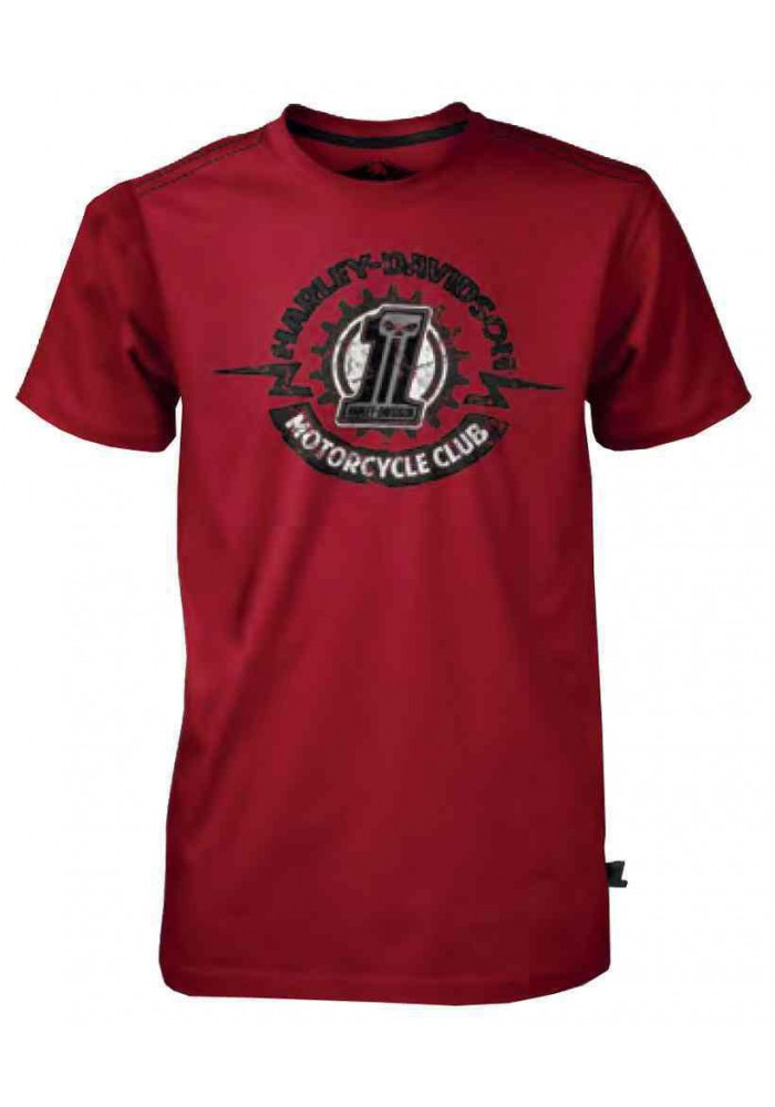 Harley Davidson Homme Black Label Sprocket Tee Shirt Manches courtes - Rouge 30291529
