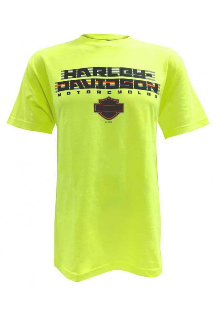 Harley Davidson Homme Cruiser H-D Script Tee Shirt Manches courtes, Safety Vert