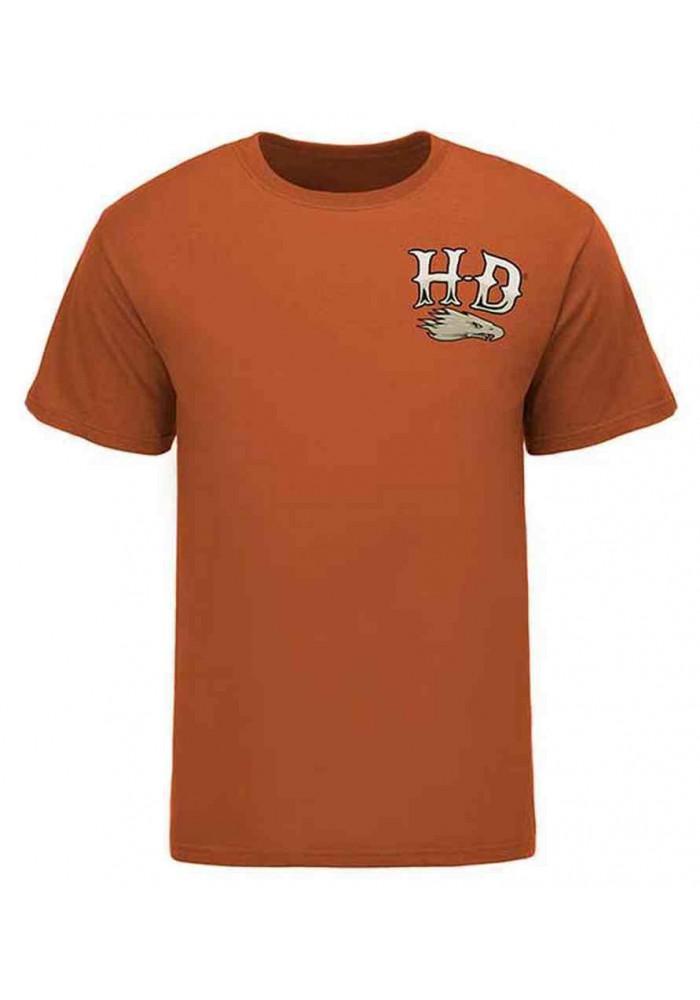 Harley Davidson Homme Eagle Tee Shirt, Retro Helmet, Texas Orange HARLMT0228