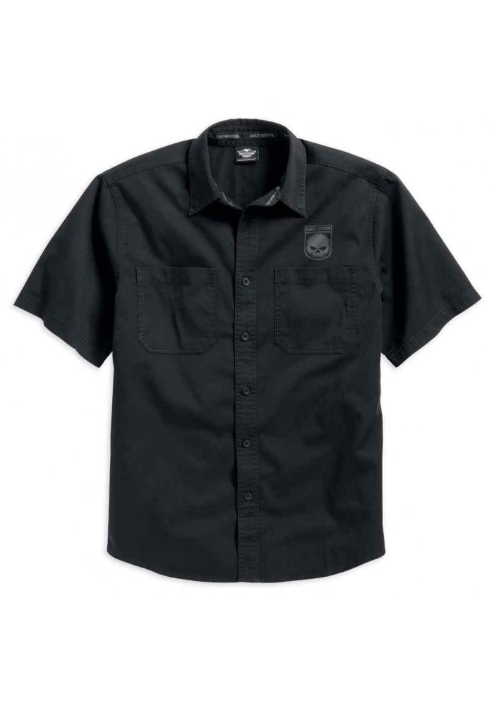 Noir Skull Davidson Courtes Harley 16vm Homme Shield 99009 Chemise Manches d0xBR