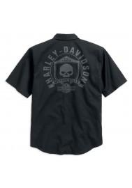 Harley Davidson Homme Skull Shield Chemise Manches Courtes, Noir. 99009-16VM