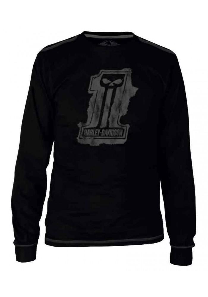 Harley Davidson Homme Black Label Splat Tee Shirt Manches Longues - Noir 30291524
