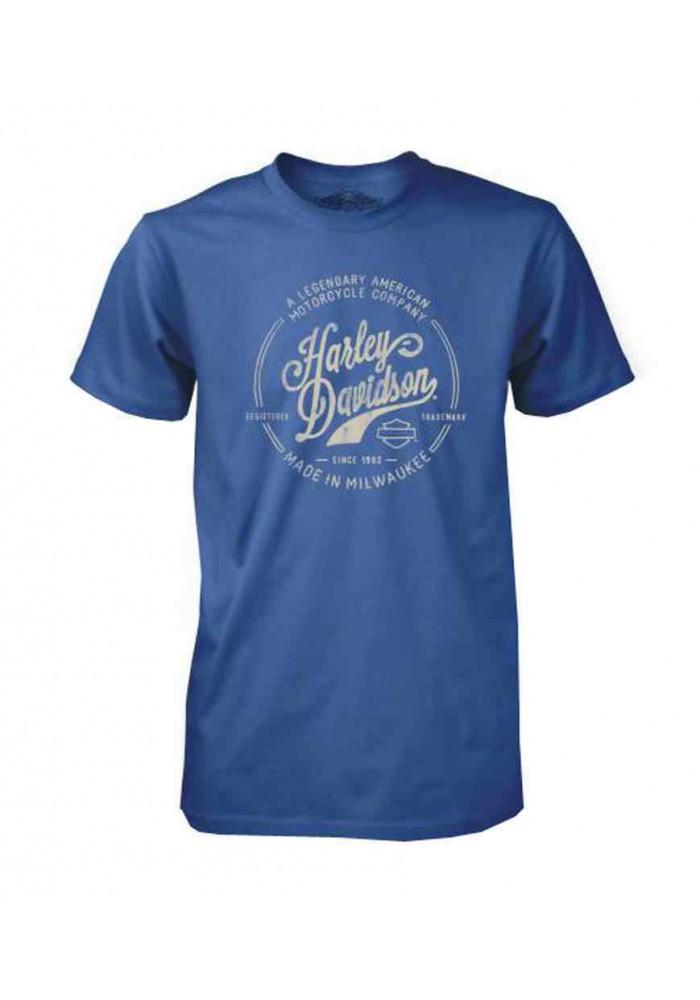 Harley Davidson Homme Tee Shirt Black Label, Legendary American H-D Script, Bleu