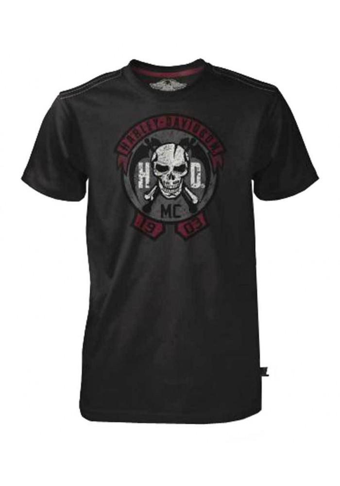 Harley Davidson Homme Tee Shirt Black Label, MC Skull Manches Courtes, Noir 30293434