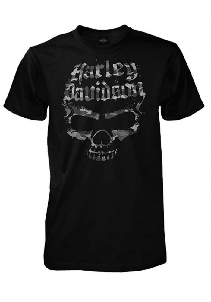 Harley Davidson Homme Distressed Skull Shadows Tee Shirt Manches courtes, Noir