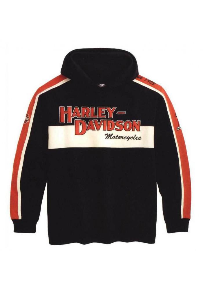 Harley Davidson Homme Prestige Sweatshirt à Capuche Noir & Orange 99047-09VM
