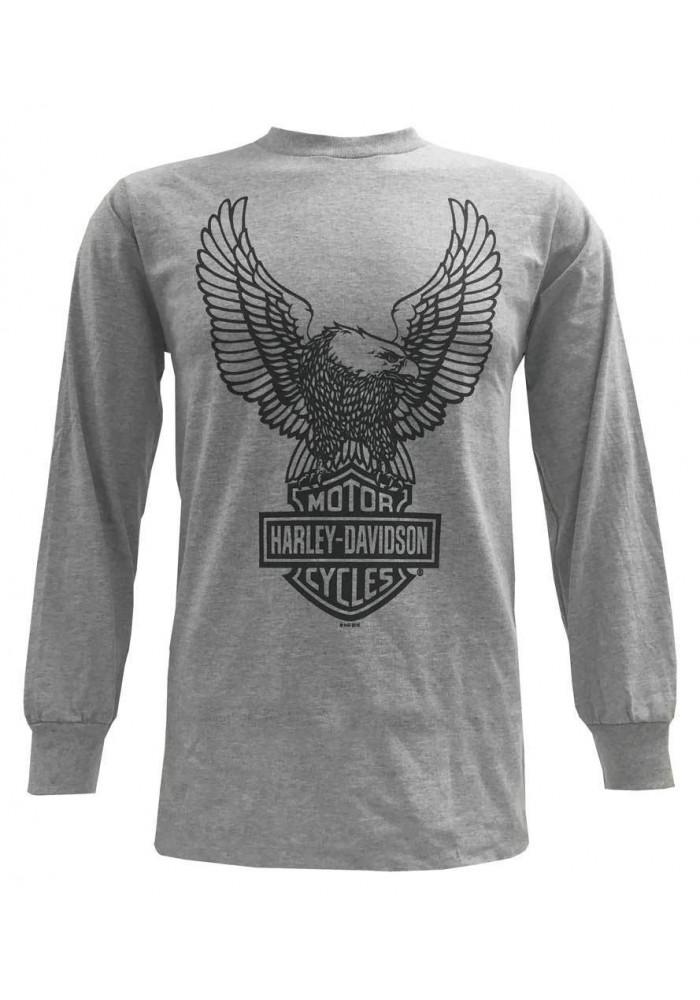 Harley Davidson Homme Tee Shirt, H-D Eagle Manches Longues, Gris 30296663