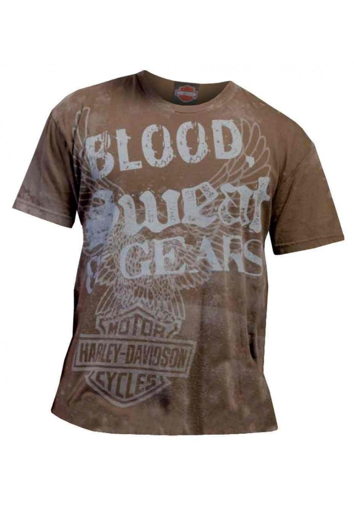 Harley Davidson Homme Blood, Sweat & Gears Distressed Vintage Tee Shirt, Brown