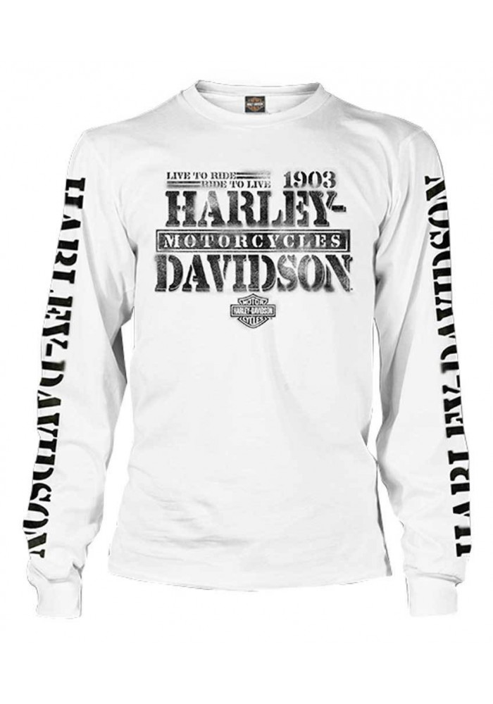 Harley Davidson Homme Distressed Freedom Fighter Chemise Manches Longues Blanche