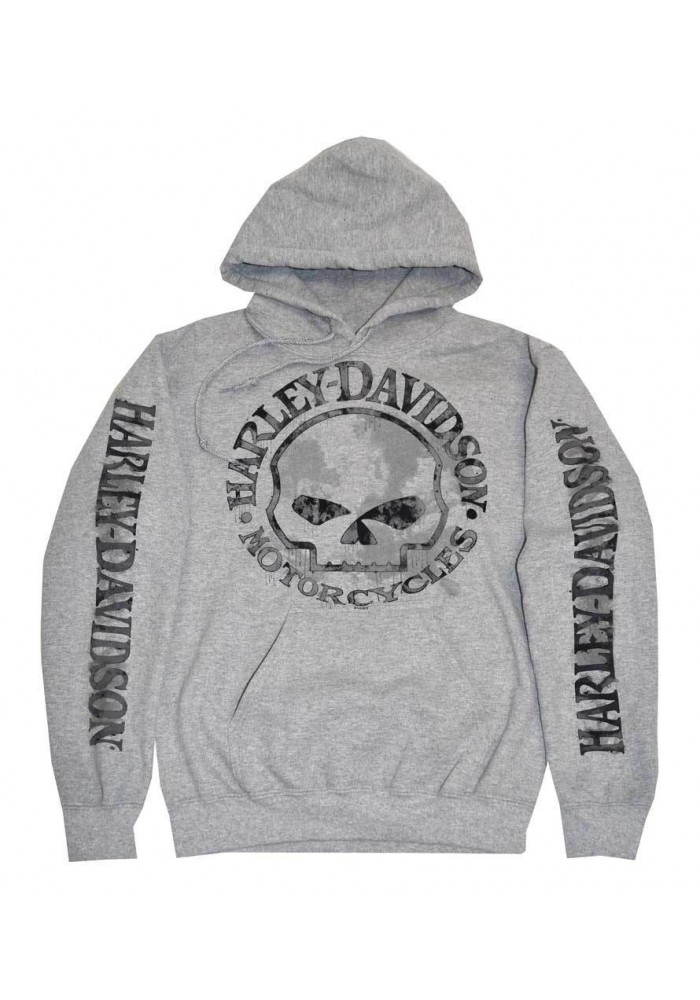 Harley Davidson Homme Sweatshirt à Capuche, Willie G Skull, Gris 30296654