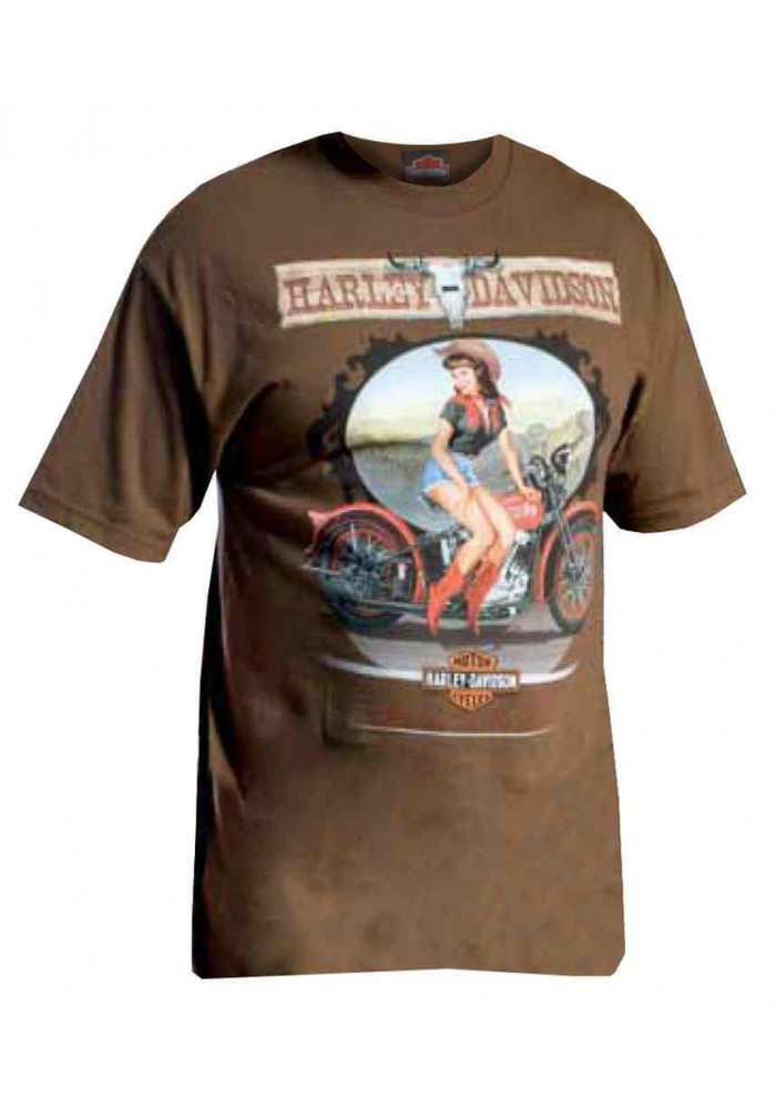 Harley Davidson Homme Tee Shirt Manches Courtes, Canyon Cowgirl Pin-Up Lady, Coffee