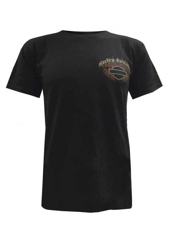 Harley Davidson Homme Tee Shirt Manches Courtes, Wicked Bar & Shield Print, Noir