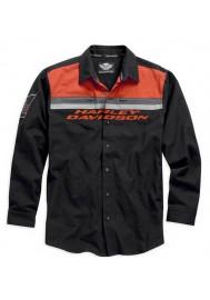 Harley Davidson Manches Longues Button Chemise Noir/Orange. 99010-15VM