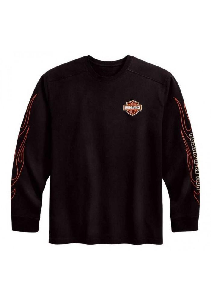 Harley Davidson Homme Bar & Shield Flames Manches Longues Noir 99042-09VM