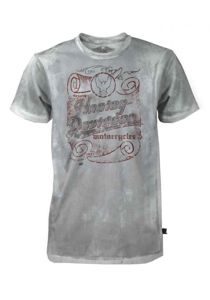Harley Davidson Homme Tee Shirt Black Label Manches courtes, H-D Script Scroll, Gris