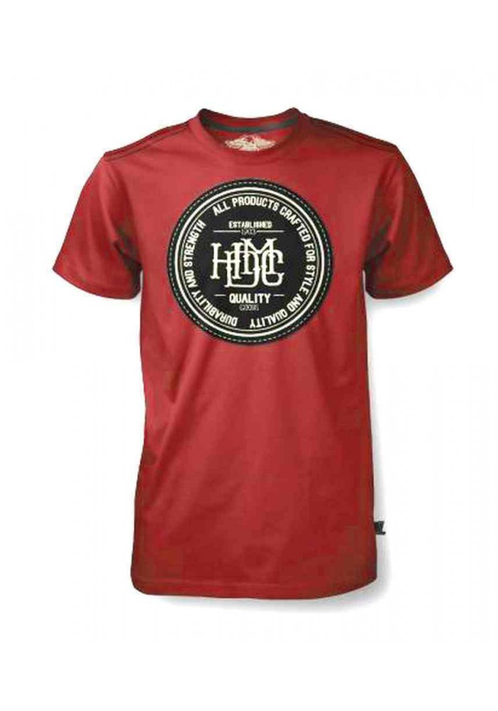 Harley Davidson Homme Tee Shirt Black Label, Quality HDMC Goods, Washed Rouge