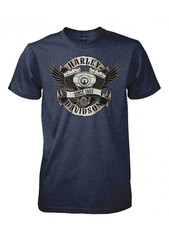 Harley Davidson Homme Bleu Steel Winged V-Twin Tee Shirt Manches Courtes, Bleu