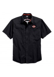 Harley Davidson Homme Pinstripe Flames Button Chemise, Noir 99049-16VM