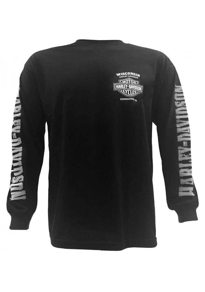 Harley Davidson Homme Skull Lightning Crest Graphic Chemise Manches Longues, Noir