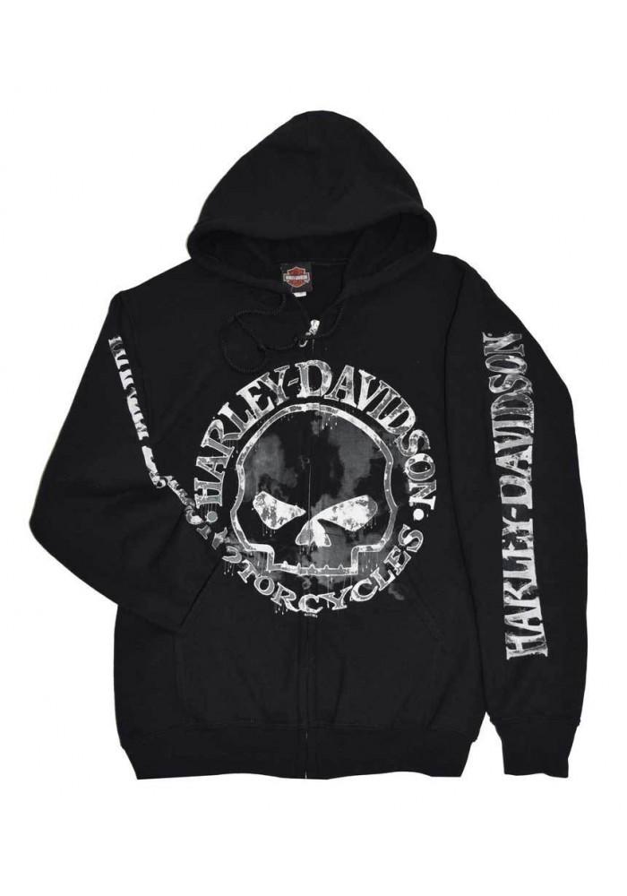 Harley Davidson Homme Zip Sweatshirt Veste, Willie G Skull, Noir 30296647