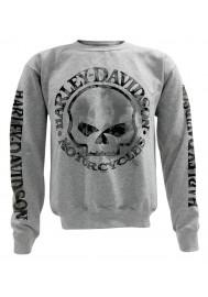 Harley Davidson Homme Pullover Crew Sweatshirt H-D Willie G Skull Gris 30296655