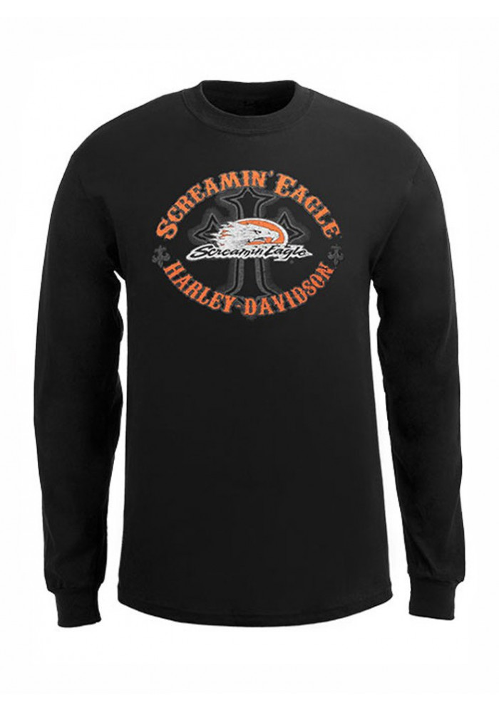 Harley Davidson Homme Eagle Chemise, Manches Longues Eagle Cross HARLMT0215