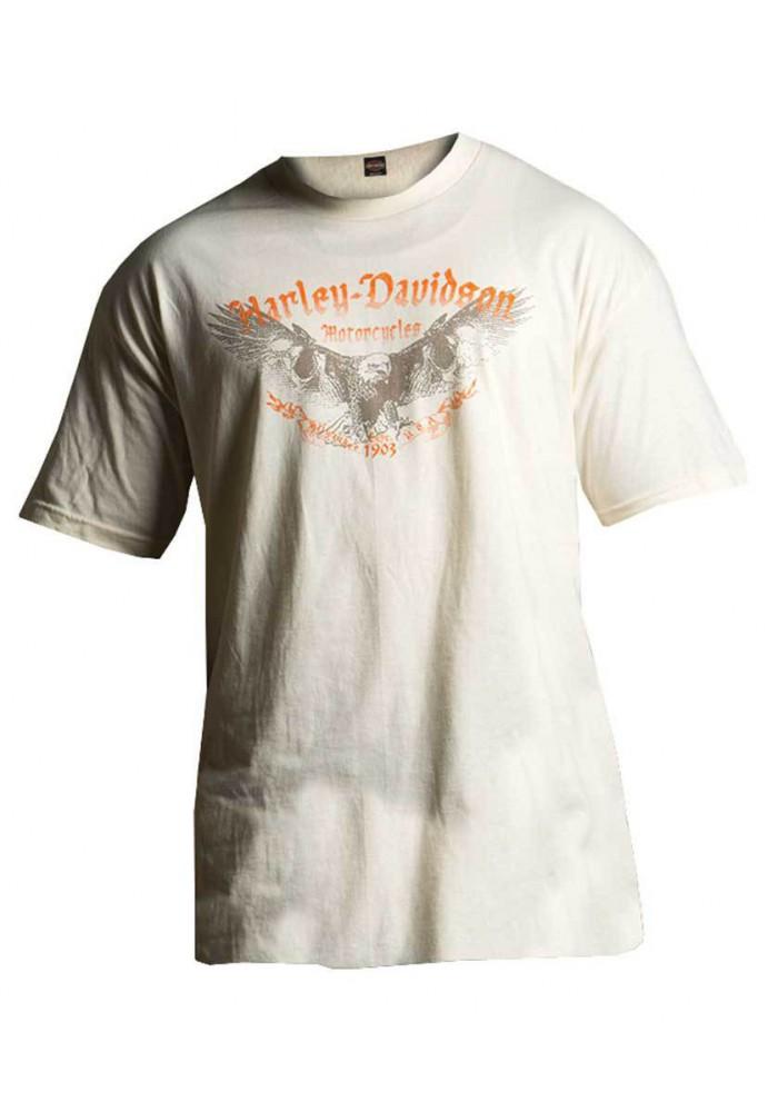 Harley Davidson Homme Tee Shirt Manches courtes, Eagle Bones Tee Shirt Graphique, Crème