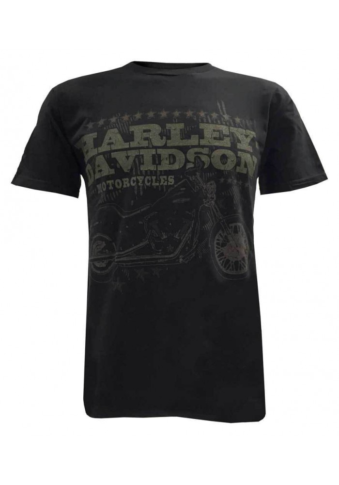 Harley Davidson Homme Tee, Distressed Motorcycle Night Train Manches Courtes, Noir