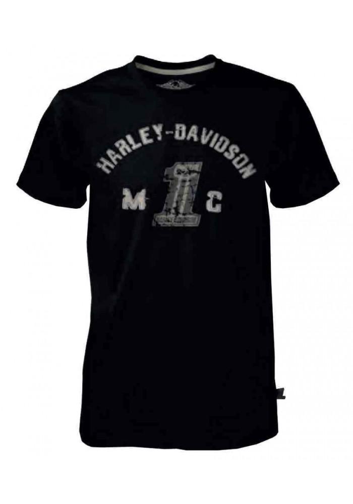 Harley Davidson Homme Black Label Collegiate Tee Shirt Manches Courtes Noir 30291523