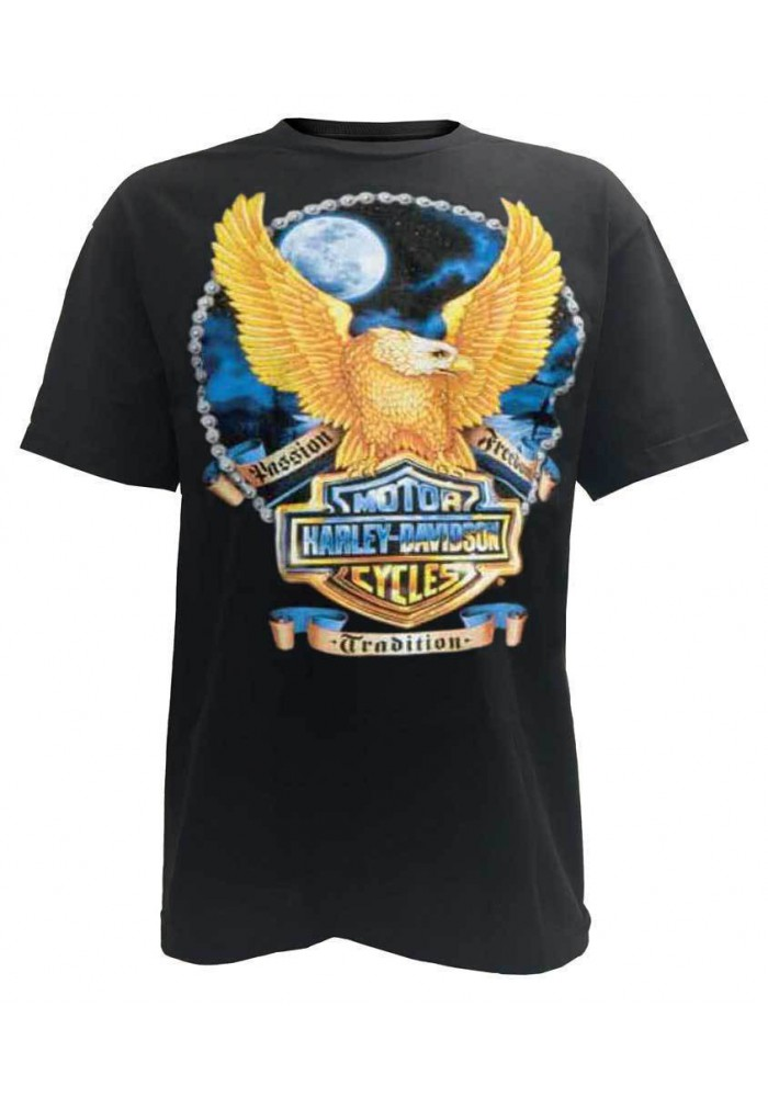 Harley Davidson Homme Bright Moon Eagle Bar & Shield Tee Shirt Manches Courtes, Noir