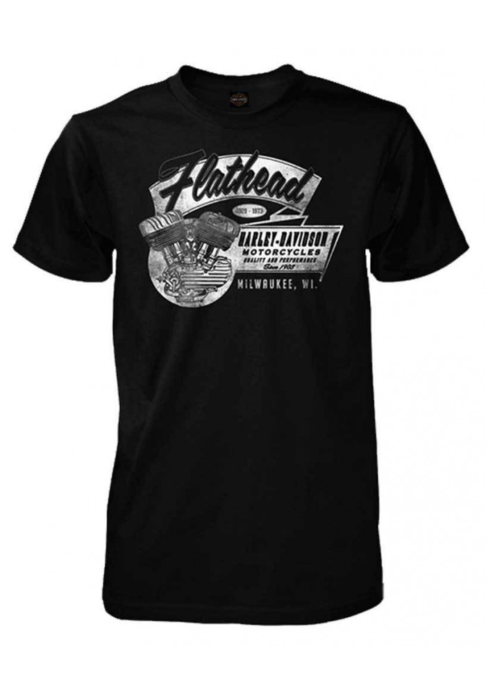 Harley Davidson Homme Flathead V-Twin Engine Tee Shirt Manches courtes, Noir