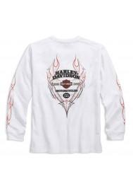 Harley Davidson Homme Pinstripe Flames Manches Longues, Blanc 99037-16VM