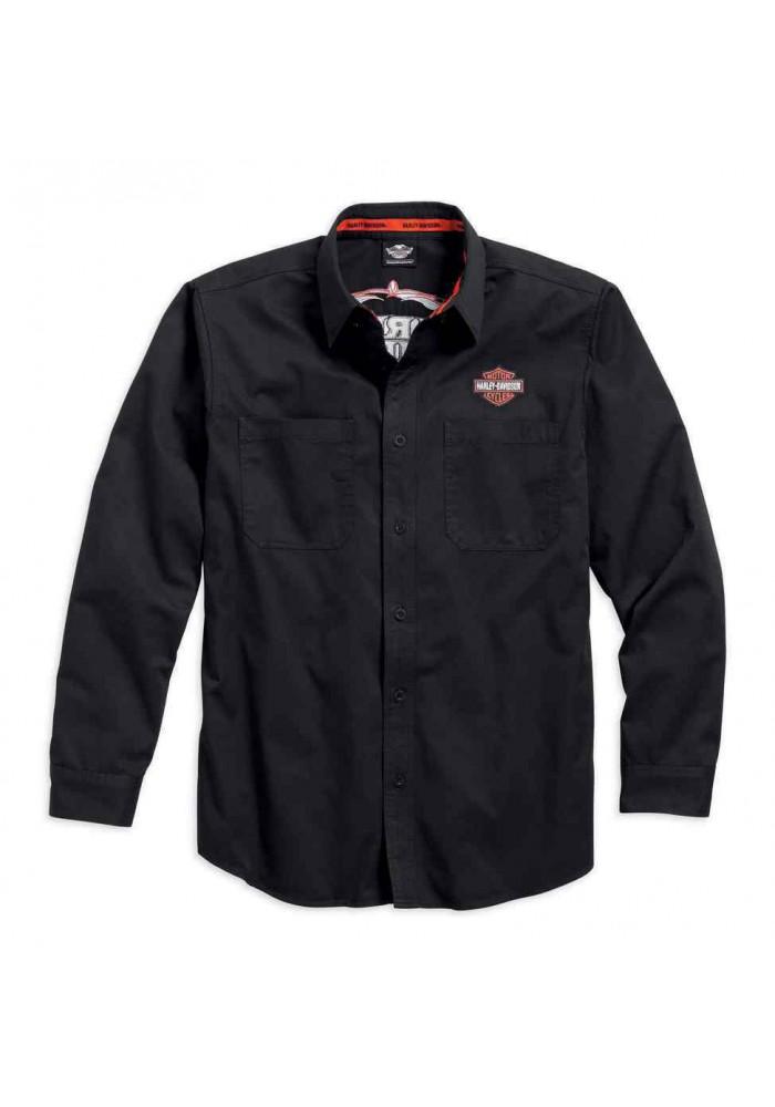 Harley Davidson Homme Pinstripe Flames Chemise Manches Longues, Noir 99048-16VM