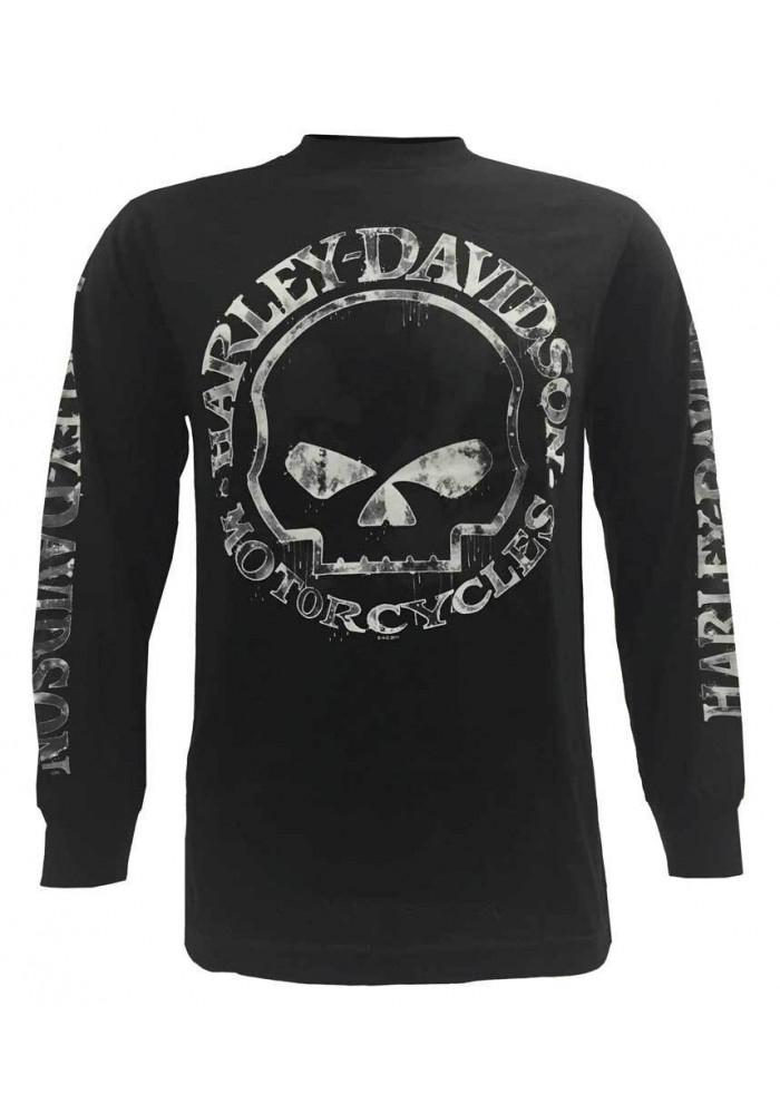 Harley Davidson Homme Chemise, Hand Made Willie G Skull Manches Longues 30294032