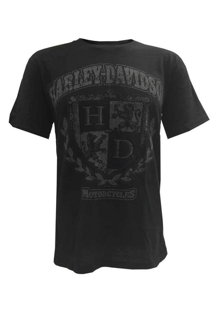 Harley Davidson Homme Tee Shirt, Distressed Vintage H-D Code Of Arms, Noir