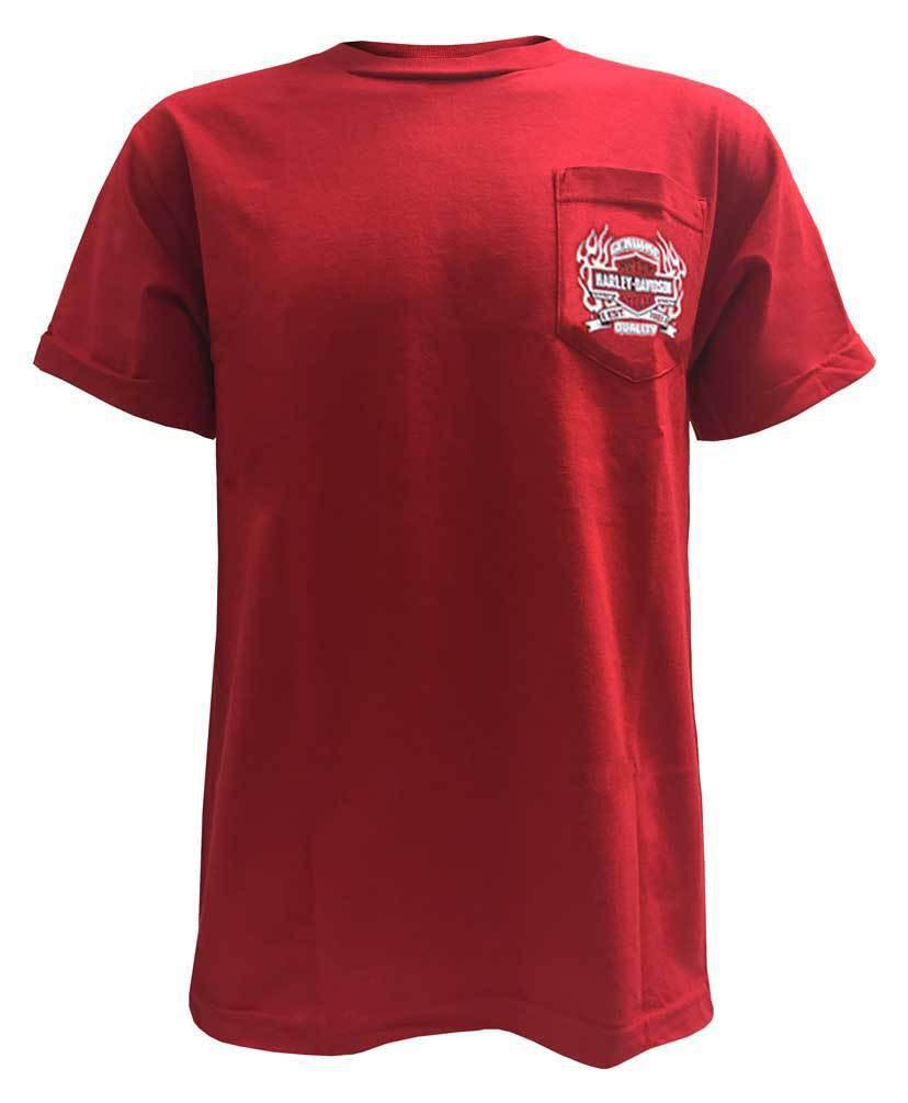 2e4b5b8d584ef Harley Davidson Homme Throttle Bar   Shield Tee Shirt Manches Courtes, Rouge