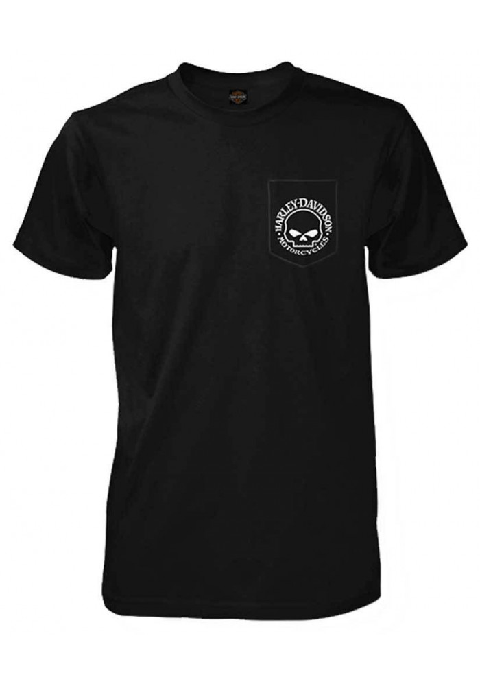 Harley Davidson Homme Willie G Skull Tee Shirt Manches courtes, Noir