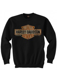 Harley Davidson Homme Elongated Bar & Shield Pullover Col Rond Sweatshirt, Noir