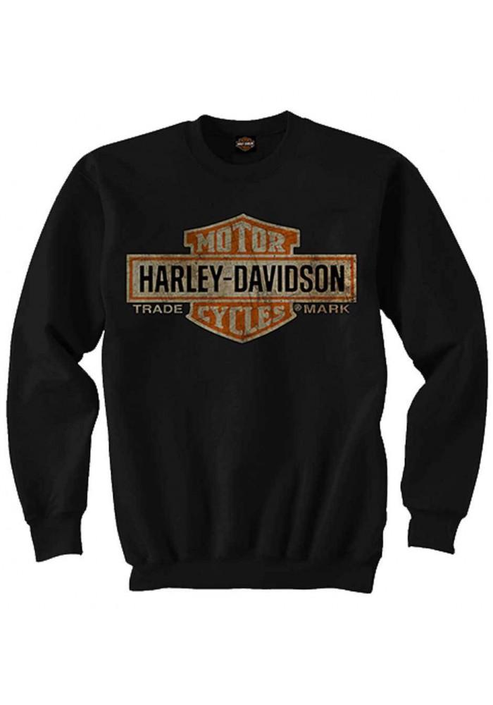 Harley Davidson Homme Elongated Bar & Shield Pullover Col Rond Sweatshirt, Noir