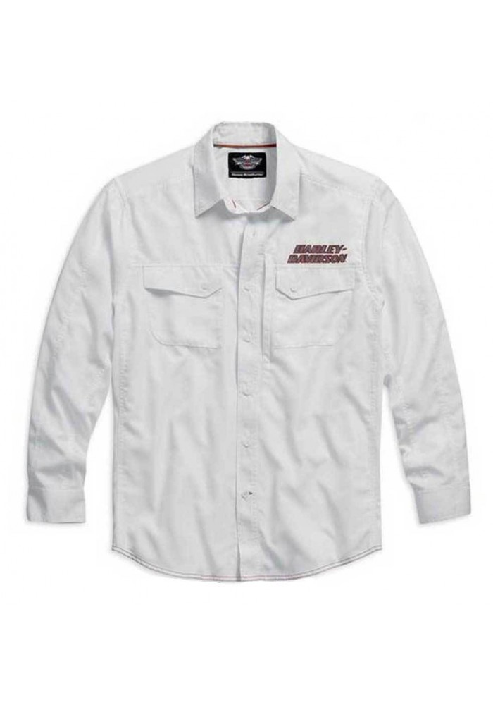 Harley Davidson Manches Longues Performance Button Front Chemise Blanche. 99016-15VM