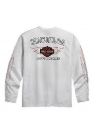 Harley Davidson Homme Bar & Shield Flames Manches Longues Blanc 99125-10VM