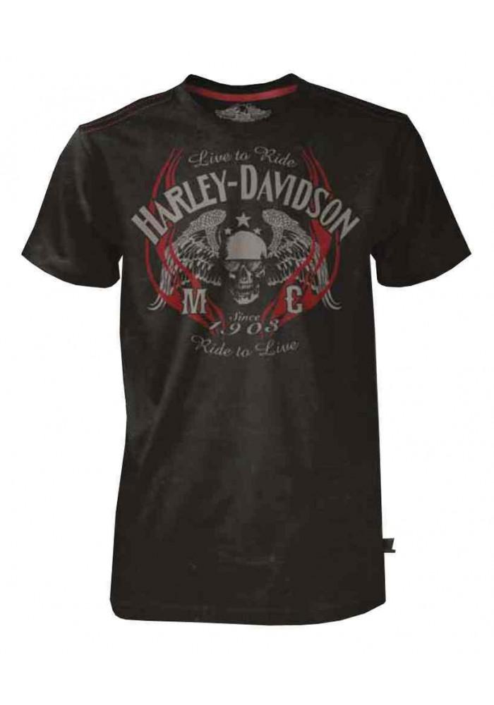 Harley Davidson Homme Black Label MC Skull Tee Shirt Manches Courtes Noir 30293139