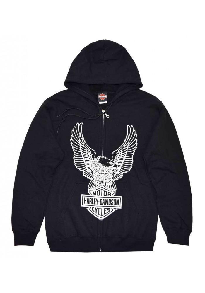 Harley Davidson Homme Eagle , Sweatshirt à Capuche Zip, Noir 30296661