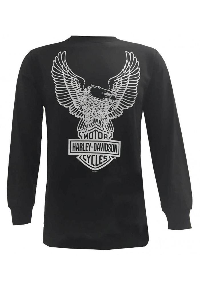 Harley Davidson Homme Eagle Tee Shirt Manches Longues Noir Graphique 30296660
