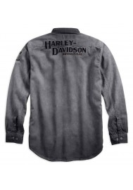 Harley Davidson Homme Iron Block Chemise Manches Longues, Gris 99020-17VM