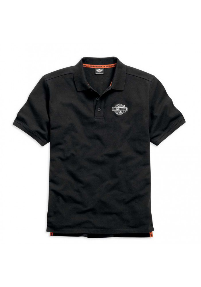 Harley Davidson Homme  Polo, Brodée Rouge Bar & Shield Noir 99007-15VM