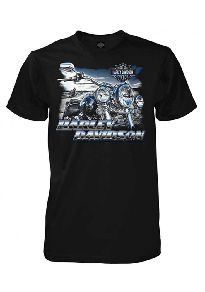 Harley Davidson Homme Motorcycle Reflections Tee Shirt Manches courtes, Noir