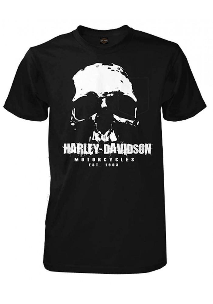 Harley Davidson Homme No Retreat Skull Tee Shirt Manches courtes, Noir