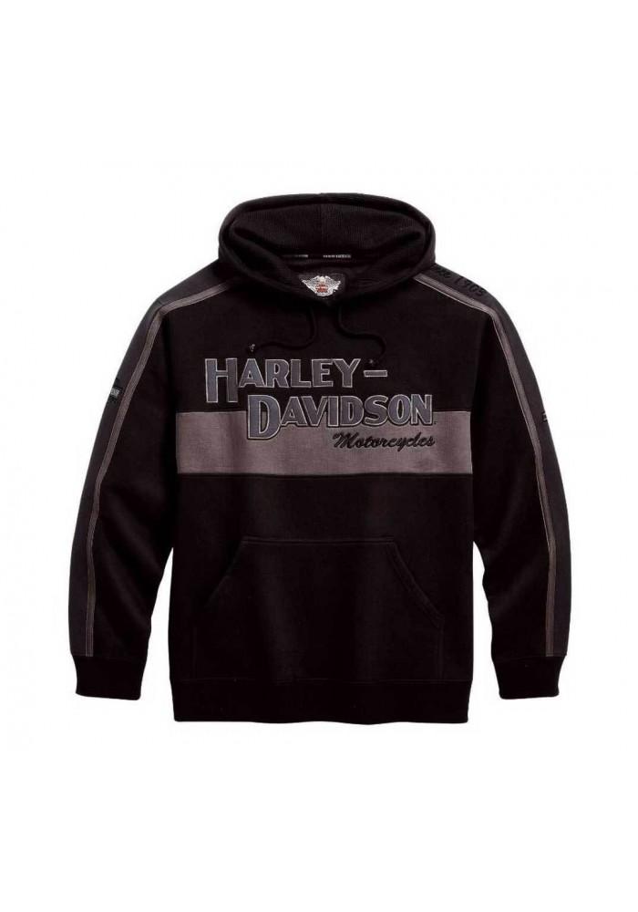 Harley Davidson Homme Prestige Sweatshirt à Capuche Noir & Gris 99128-10VM